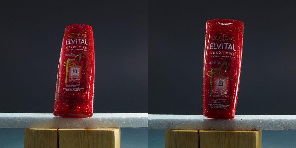 Shampoo- och balsamflaska, sprayade med glycerin och vatten