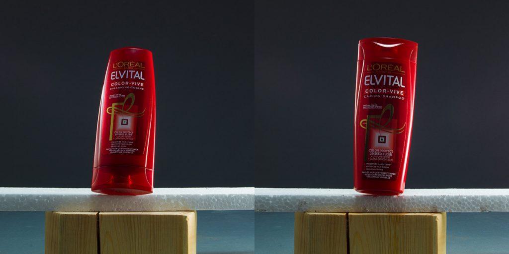 Shampoo- och balsamflaska i torrt tillstånd