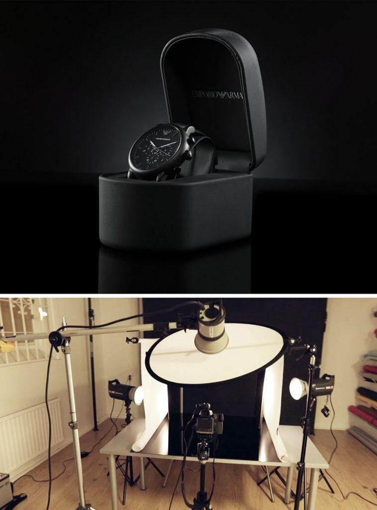 Ljussättning för produktfotografering av klocka
