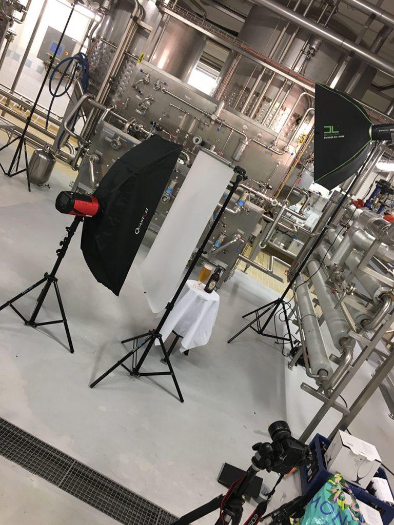 Dryckesfotografering åt Spendrups produktkatalog, ljussättning för Gränges öl