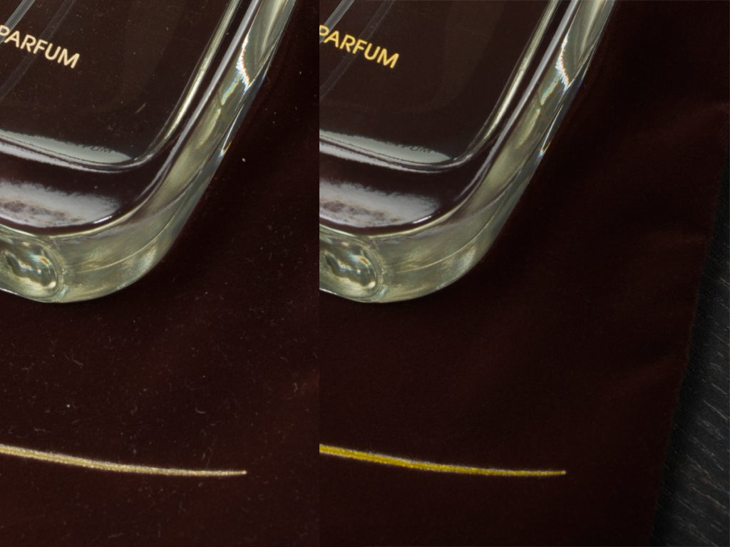Retusch av glasflaska från parfymfotografering i studio
