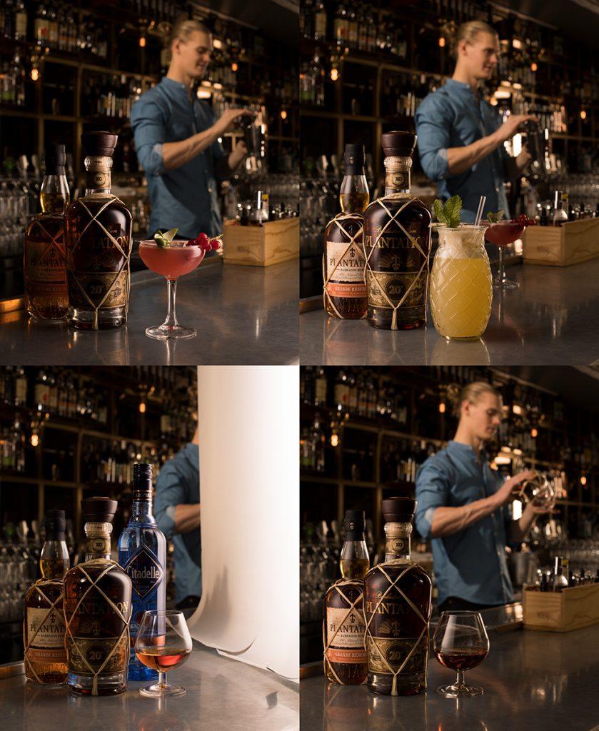 Dryckesfotografering åt Spendrups produktkatalog, ljussättning för bild av Plantation rom