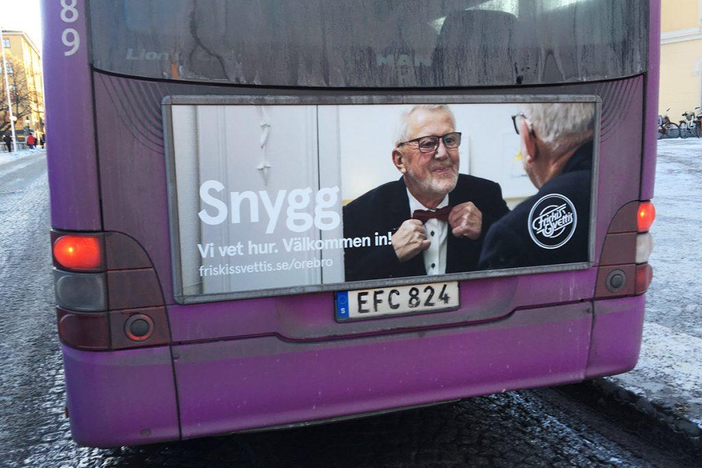 Reklambilder från fotografering åt Friskis & Svettis, bussreklam på stadsbussarna. Foto: SHOOT IT Film & Foto i Örebro