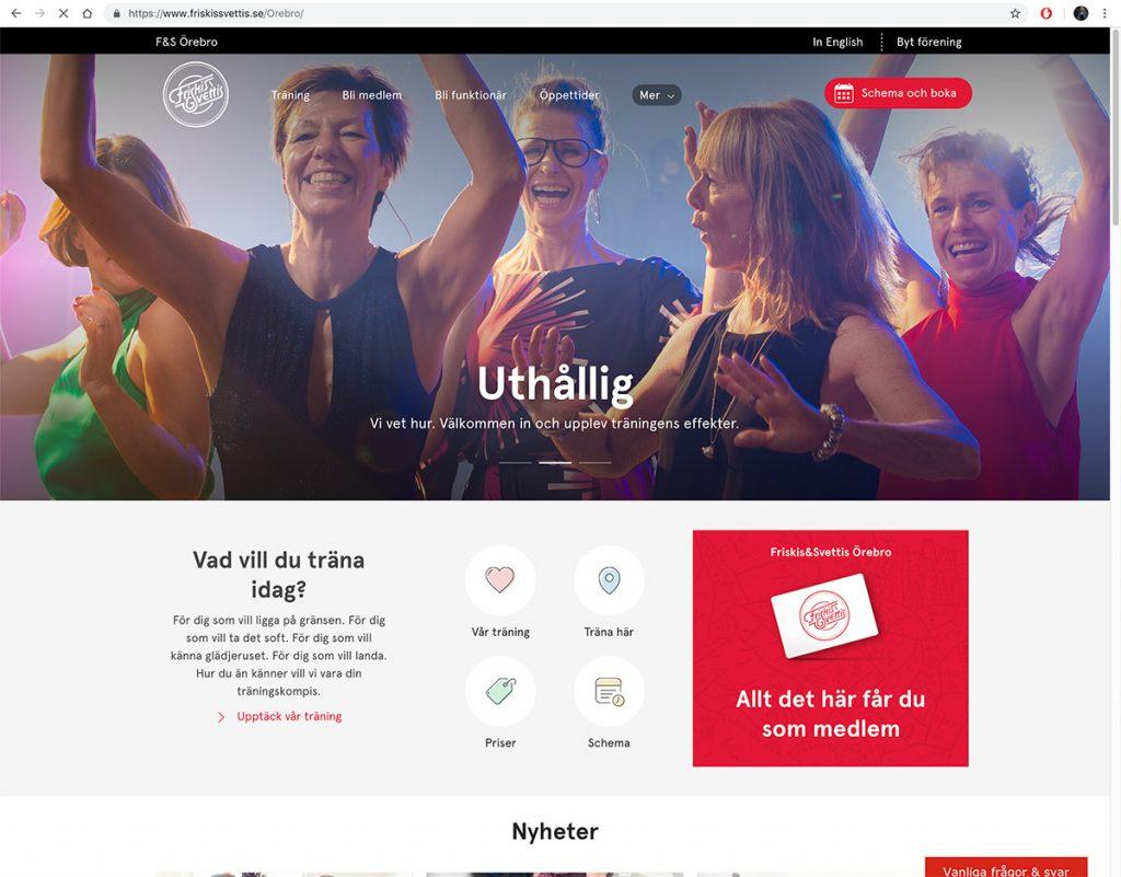 Reklambilder från fotografering åt Friskis & Svettis, Friskis & Svettis hemsida. Foto: SHOOT IT Film & Foto i Örebro